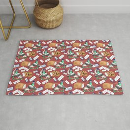 Pigeons Express (Rust Red Background) Rug