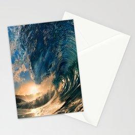 Beach - Waves - Ocean - Sun - Clouds - Blues - Sundown Stationery Cards