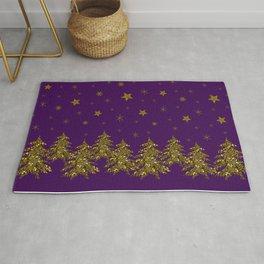 Sparkly gold Christmas tree, moon, stars on purple Rug
