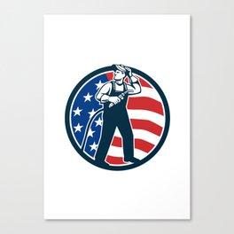 Welder Standing Visor Up USA Flag Circle Retro Canvas Print