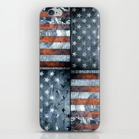 american flag iPhone & iPod Skins featuring American flag by Bekim ART