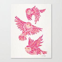 Owls in Flight – Pink Palette Canvas Print
