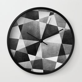 Mid Century Skewed Color Blocks - Gray, Black and White Wall Clock