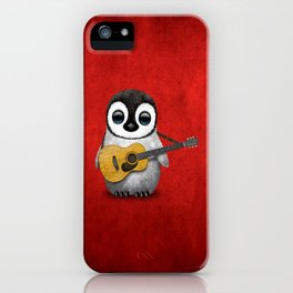 Musical Baby Penguin Playing Acoustic Guitar on Deep Red iPhone Case