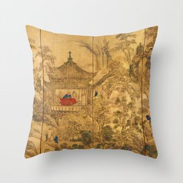 Roukaku Sansui Zu (landscape with tower) by Ike no Taiga (18th century) Throw Pillow