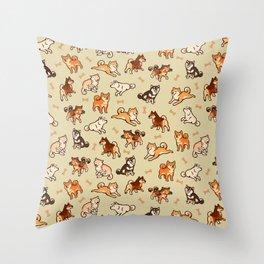 Shibas in cream Throw Pillow
