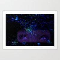 Blue Forest Dreams 1 Art Print