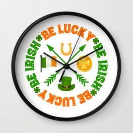 Be Lucky Be Irish St Patricks Day Clover Gold Coin Wall Clock