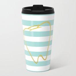 Aqua Stripes with Gold Tooth Travel Mug