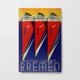 Express Steamer Bremen Vintage Travel Poster Metal Print