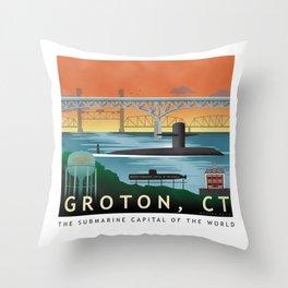 Groton, CT - Retro Submarine Travel Poster Throw Pillow