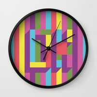 kim sy ok Wall Clocks featuring OK by The Good Press