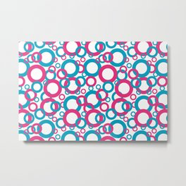 AI Aqua Coloro 2021 Color Of the Year and Hot Pink Funky Geometric Rings Metal Print