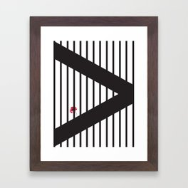 Geometric Stripes Flower Framed Art Print