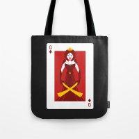 berserk Tote Bags featuring Queen of Diamonds - Berseker queen by Thirdway Industries Shop