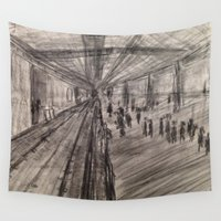 subway Wall Tapestries featuring Subway Platform by Melissa Roberts