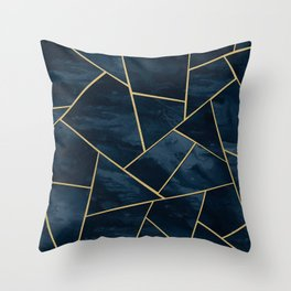 Dark Midnight Navy Blue Gold Geometric Glam #1 #geo #decor #art Throw Pillow