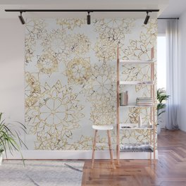 Modern hand painted brown yellow watercolor floral illustration Wall Mural