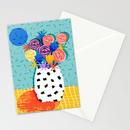 Legit - throwback abstract floral still life memphis retro 80s style vase with flowers Stationery Cards