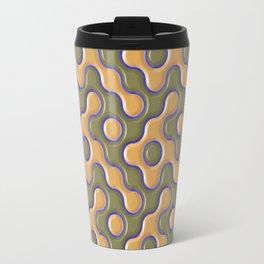 3D ORANGE AND BLUE WAVES Travel Mug