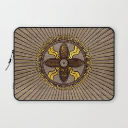 Seal of Shamash - Wood burned with gold accents Laptop Sleeve