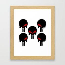 Black red Punisher Skull Pattern Framed Art Print
