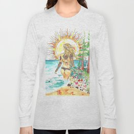The Sun Tarot Card Bohemian Ocean Goddess Risa Painting Long Sleeve T-shirt