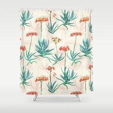 Flowering Succulent Pattern in Cream, Coral and Green Shower Curtain