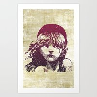 les miserables Art Prints featuring Les Miserables Girl by Pop Atelier