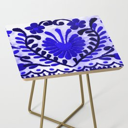 Beautiful Midnight Blue Mexican Flower Side Table