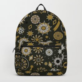 christmas pattern with stars and mandala on black and gold Backpack