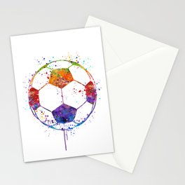 Soccer Ball Watercolor Sports Art Stationery Cards