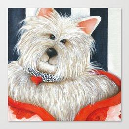 Dog Westie Terrier Original painting Deb Harvey Art Rose Canvas Print
