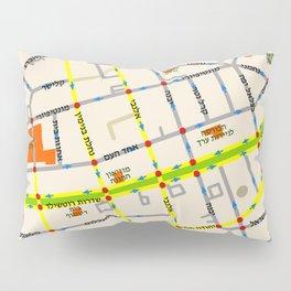 Tel Aviv map - Rothschild Blvd. Hebrew Pillow Sham