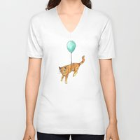 baloon V-neck T-shirts featuring The cat and the baloon by Nemimakeit