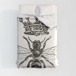 Queen Bee | Vintage Bee with Crown | Black and White | Comforters