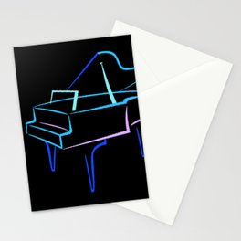 Blue Abstract Grand Piano Stationery Cards