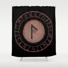 Laguz Elder Futhark Rune of the unconscious context of becoming or the evolutionary process Shower Curtain