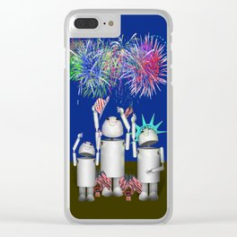 Robo-x9 & Family Celebrate the 4th of July Clear iPhone Case