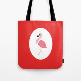 Polly the Pink Flamingo - Red Tote Bag