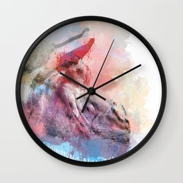 Greater One Horned Rhino Digital Art Wall Clock