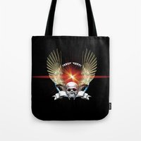 guns Tote Bags featuring Skull & Guns by Messiahsc