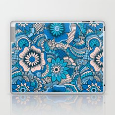 Blue Summer Boho Floral Pattern Laptop & iPad Skin