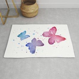 Butterflies Watercolor Abstract Splatters Rug