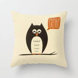 An Owl With a Growl Throw Pillow