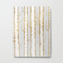 Metallic Birch Trees Metal Print