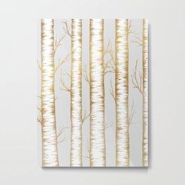 Metallic Birch Trees Metal Print