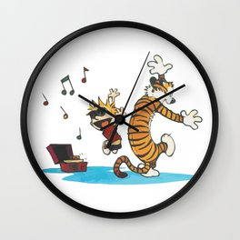 Hobbes Dancing with Vinyl Phonograph, Cute Artwork, Tshirts, Art Posters, Prints, Bags, Men, Women, Wall Clock