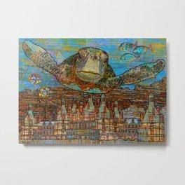 Sea Turtle Over Atlantis Metal Print