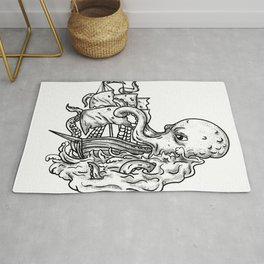 Kraken Attacking Ship Tattoo Grayscale Rug